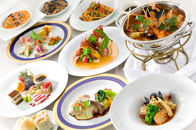 【5月6日までのおすすめディナーコース】今月は真鯛とたくさんの海の幸のアクアディマーレ、美湯豚ロース肉のピカタ。活オマール海老、ブイヤベース、海の幸のグラタンも大人気!スペシャル感溢れるディナーです。